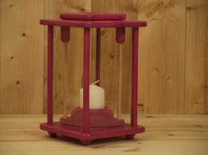 Laterne, Windlicht, Dekolampe, Holz, pink