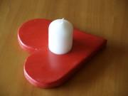 Kerzenhalter, Herz, Holz, rot