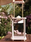 Laterne, Windlicht, Dekolampe, Holz, Shabby rosa antik