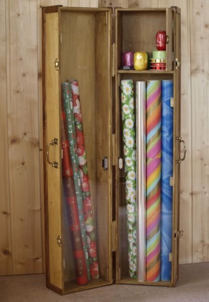 Geschenkpapier, Koffer, Holz