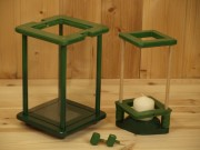 Laterne, Windlicht, Dekolampe, Holz, grün, dunkelgrün