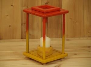 Laterne, Windlicht, Dekolampe, Holz, rot, gelb