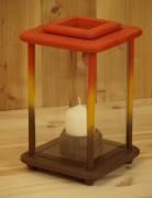 Laterne, Windlicht, Dekolampe, Holz, rot, gelb, braun