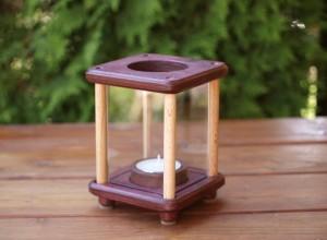 Mini-Dekolampe, Holz, mahagoni