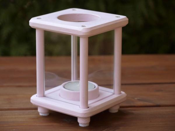 Mini-Dekolampe, Holz, Shabby rosa/weiß