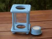 Mini-Dekolampe, Holz, Shabby petrol/hellblau
