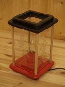 Dekolampe, Holz, schwarz_rot, elektrisch