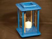 DDekolampe, Windlicht, Laterne, Holz, blau, graviert, Anker