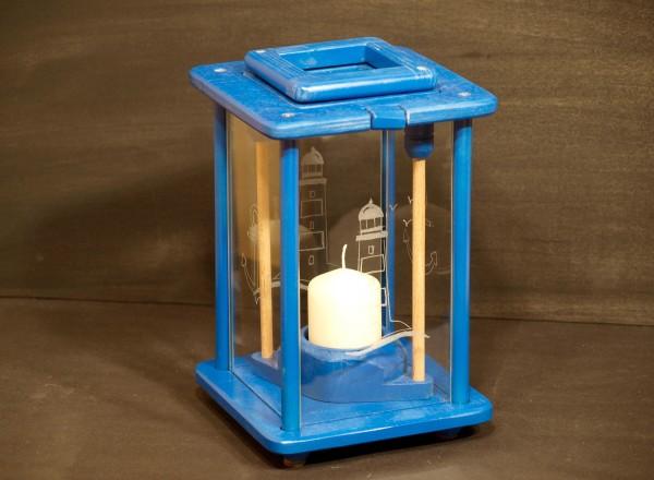 Dekolampe, Windlicht, Laterne, Holz, blau, graviert, Leuchtturm