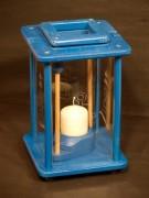 Dekolampe, Windlicht, Laterne, Holz, blau, graviert, Anker