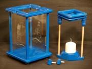 Dekolampe, Windlicht, Laterne, Holz, blau, graviert