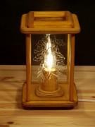 Dekolampe, Tischlampe, eiche, Holz, graviert, elektrisch