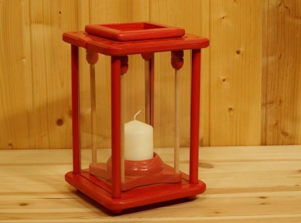 Dekolampe, Laterne, Windlicht, Holz, rot