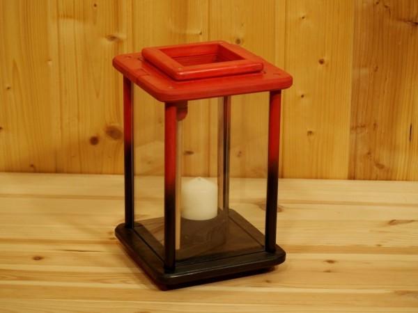 Dekolampe, Laterne, Windlicht, Holz, rot, schwarz