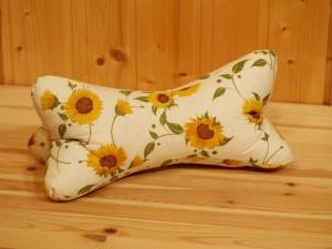 Leseknochen, Nackenkissen, Rückenstütze, Sonnenblumen, beige